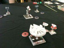 Millennium Falcon aims at Slave-1